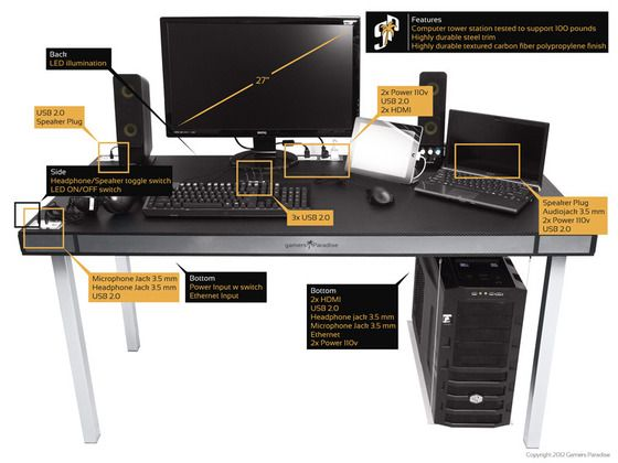http://www.kickstarter.com/projects/155163930/gamers-paradise-gaming-desk-a-new-way-to-play - Computer desk designed for computer geeks. :)
