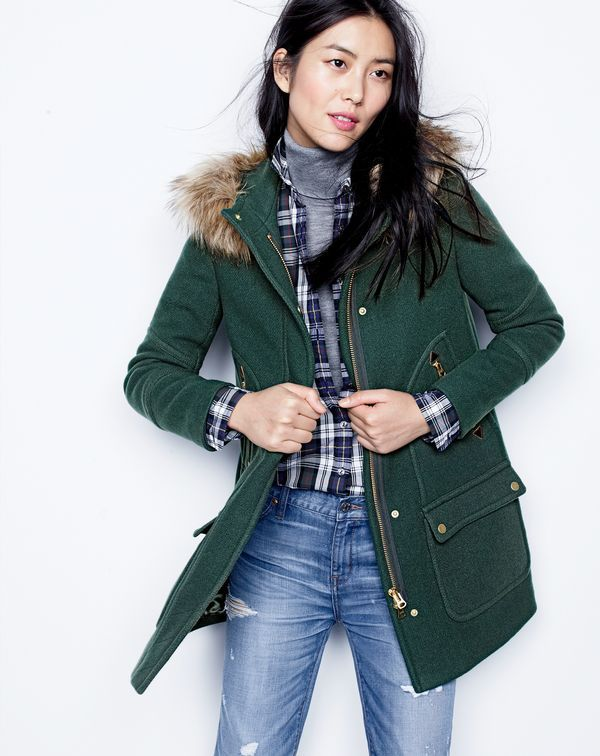 J.Crew women's chateau parka in stadium-cloth, shrunken boy shirt in forest plaid, classic turtleneck sweater and broken-in boyfriend jean in Keough wash. To pre-order, call 800 261 7422 or email verypersonalstylist@jcrew.com.