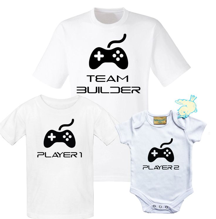 Father, children and baby T-shirts and baby grow set with game controller. Funny team gaming building set. by iganiDesign on Etsy