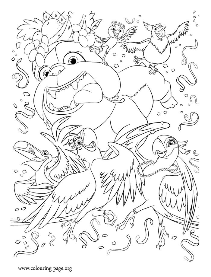 In this beautiful picture, the characters Blu, Jewel, Rafael, Luiz, Pedro and Nico are partying together. Enjoy this beautiful Rio movie coloring page!