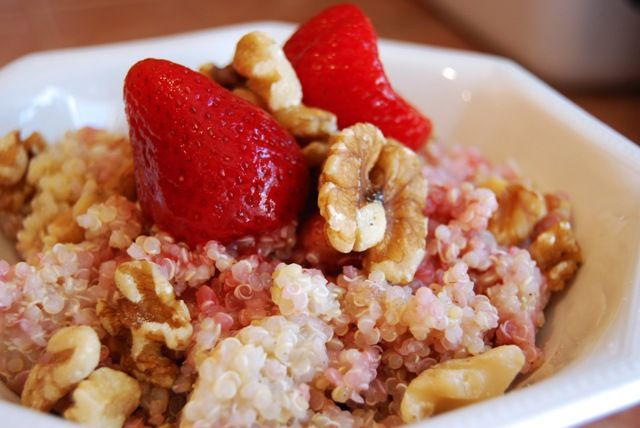 Warm quinoa cooked in vanilla soy milk with brown sugar, spices, nuts & berries. Quite possibly the healthiest dessert you've ever had.