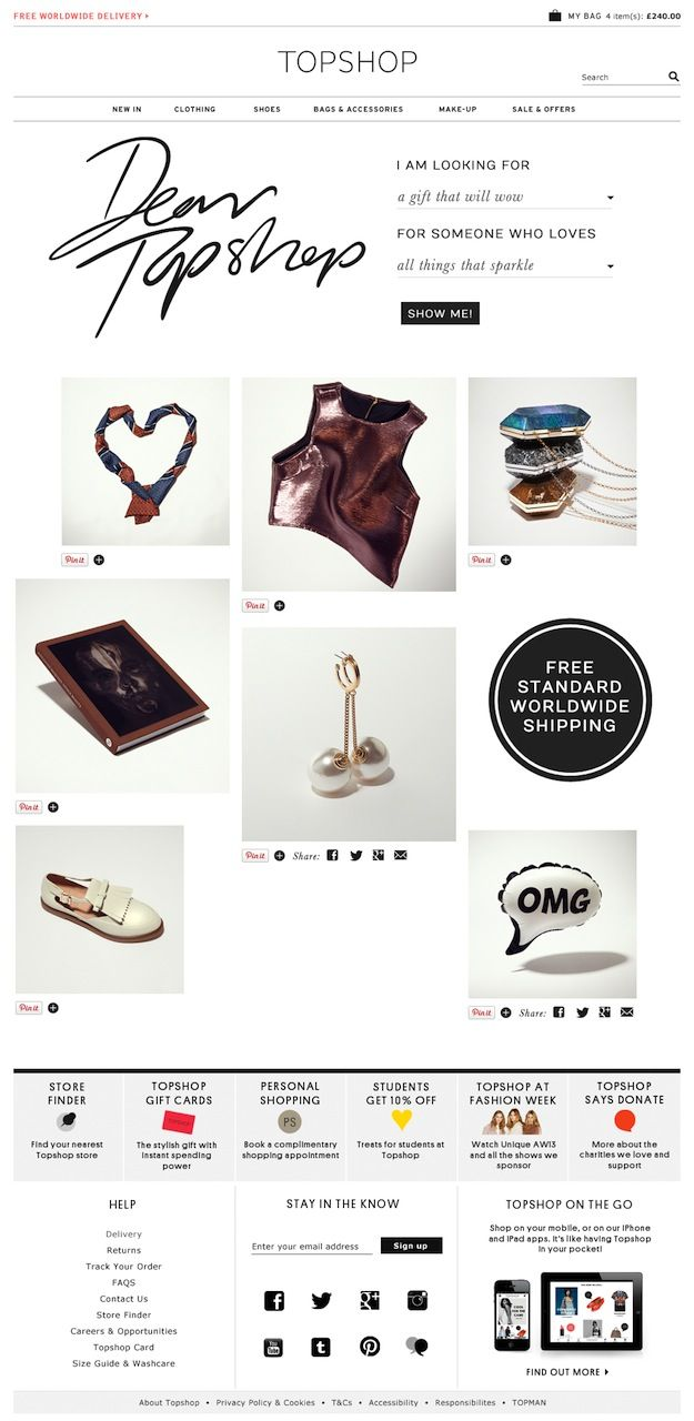 Pinterest for business case study - Topshop Transforms Pinterest Into A Searchable Gift Guide