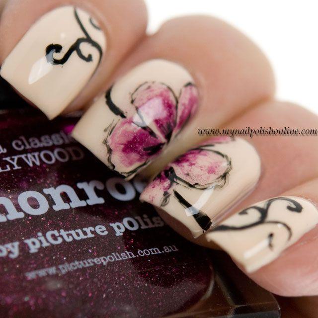 My Nail Polish Online, 8/10/14: Nail Art Sunday and #BusyGirlNails – Watercolored Flowers