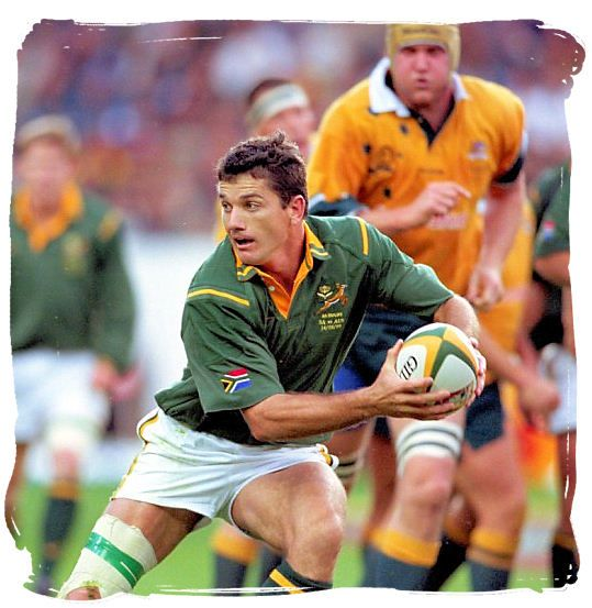 Springbok rugby scrumhalf, Joost van der Westhuizen in action - Springbok rugby in South Africa and the South Africa rugby team
