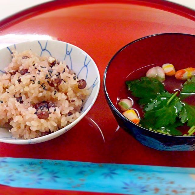 炊飯器でなく、蒸して作りました。 - 15件のもぐもぐ - 赤飯とお吸い物 by miharun0919
