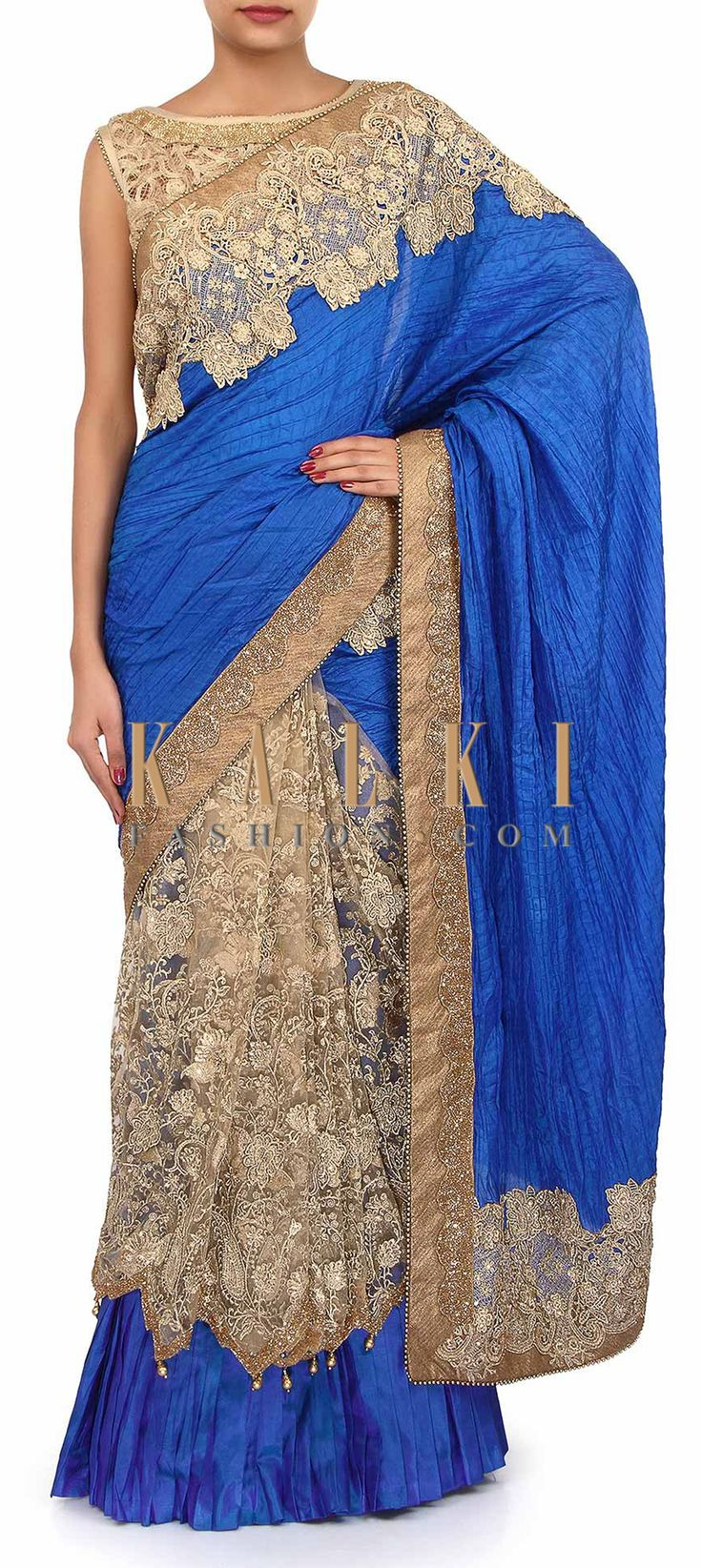 Buy Online from the link below. We ship worldwide (Free Shipping over US$100). Product SKU - 258410. Product Link - http://www.kalkifashion.com/gold-and-blue-lehenga-saree-adorn-in-zari-and-kardana-embroidery-only-on-kalki.html