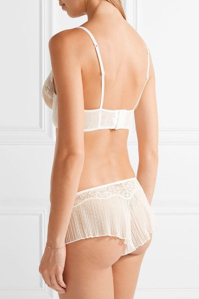 La Perla - Blossoms Leavers Lace And Stretch-tulle Underwired Soft-cup Bra - White - 34D
