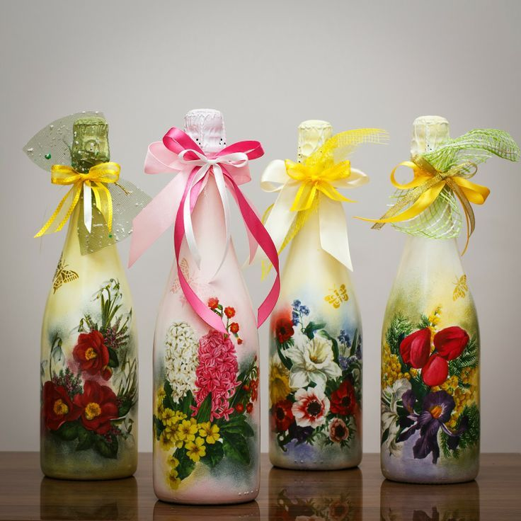 Beautiful wine bottles. Great gift idea. A little drink and something pretty to reuse!