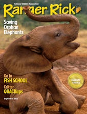 September 2012 cover of Ranger Rick magazine featuring a story about baby orphan elephants.