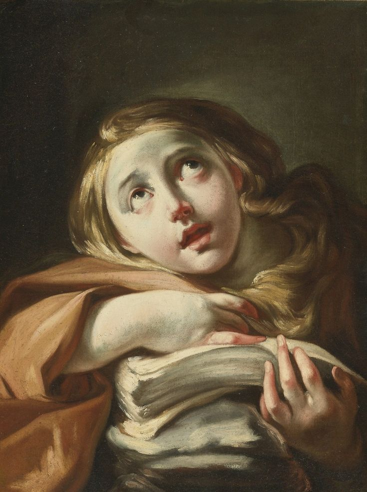 The Penitent Mary Magdalene (first half of the 18th century). Venetian School. Oil on canvas. This swirling bust length depiction of this Penitent Magdalene calls to mind certain Venetian artists working in the first half of the eighteenth century, particularly the young Giambattista Tiepolo. The subject's reddish hair, intense upwards gaze, and pile of manuscripts clearly identify her as Mary Magdalene.