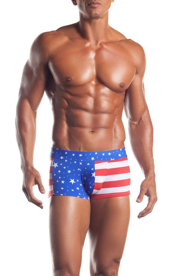 Men Patriotic Red White N Blue Stripes Americana Short ...