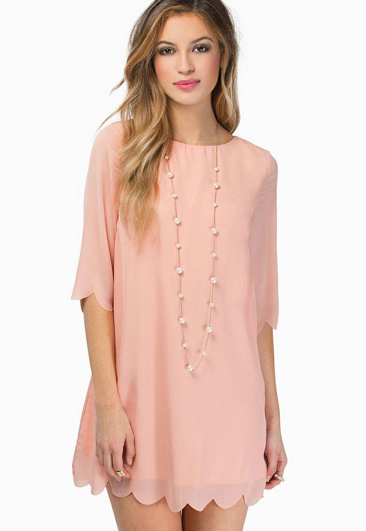 Pink Half Sleeve Scallop Hem Chiffon Shift Dress - Sheinside.com