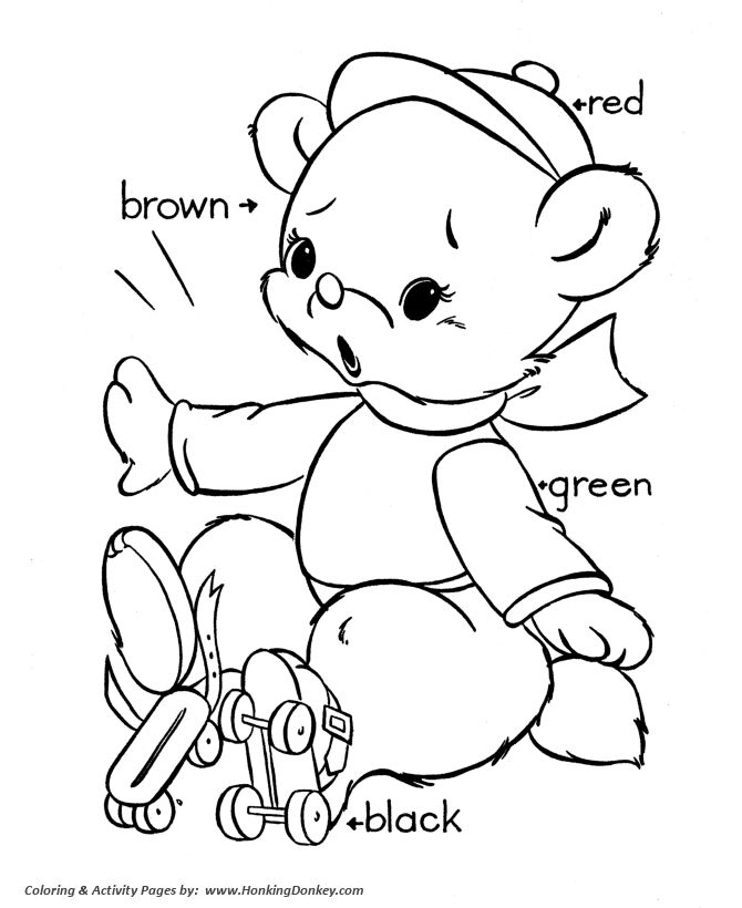 Teddy Bear Coloring Pages Kids Skating Featuring Hundreds Of Pre K