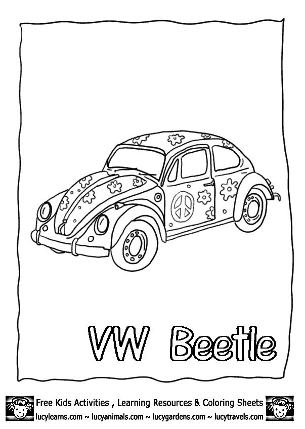 Volkswagen Beetle Coloring Pages Download