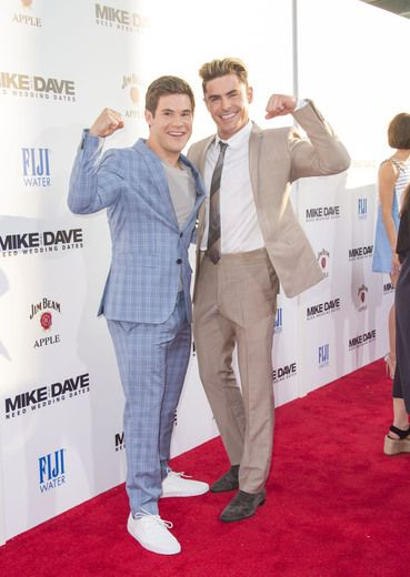 "Adam Devine and Zac Efron hit the red carpet for the Hollywood premiere of their new film ""Mike and Dave Need Wedding Dates."""