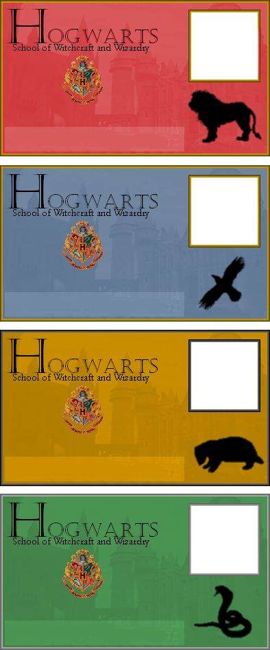 Slytherin Hogwarts ID Ravenclaw[link] Gryffindor[link] Hufflepuff[link] I couldn't find Hogwarts Student I.Ds I liked so I made my own! Hope you like and enjoy filling them out. Don't forget to giv...