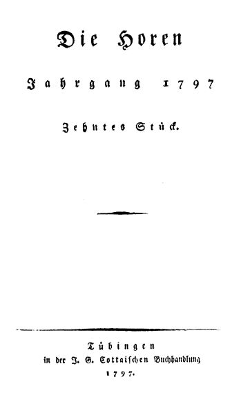 """""""Die Horen haben jetzt wie es scheint ihr weibliches Zeitalter"""", schrieb Goethe 1797 an Schiller, als dieser in seiner Zeitschrift Werke von Elisa von der Recke und Sophie Mereau aufnahm."""