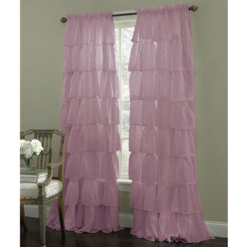 Shabby Chic Bedroom Curtains: Purple Shabby Chic Ruffled Curtains
