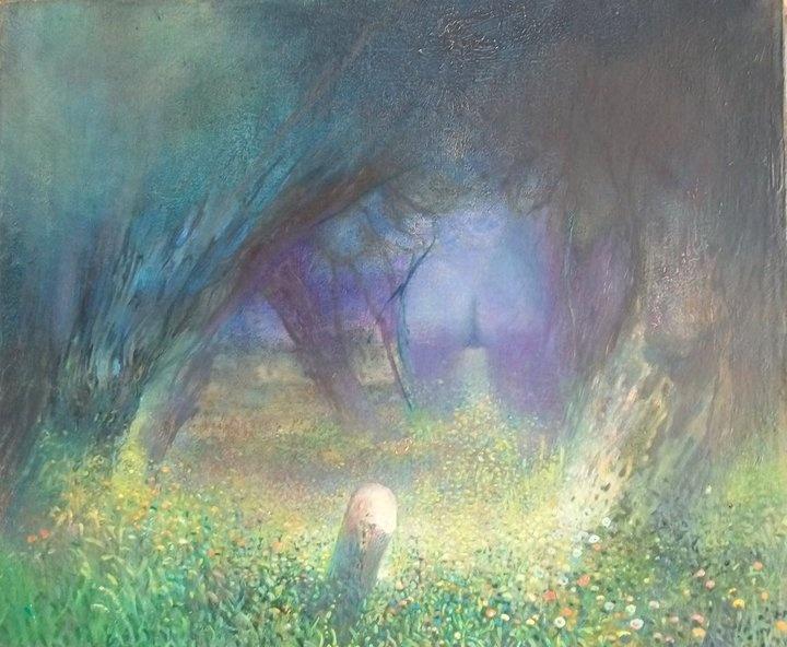 Mroczny pejzaż, obraz olejny na płótnie, oil on canvas by Leszek Gesiorski