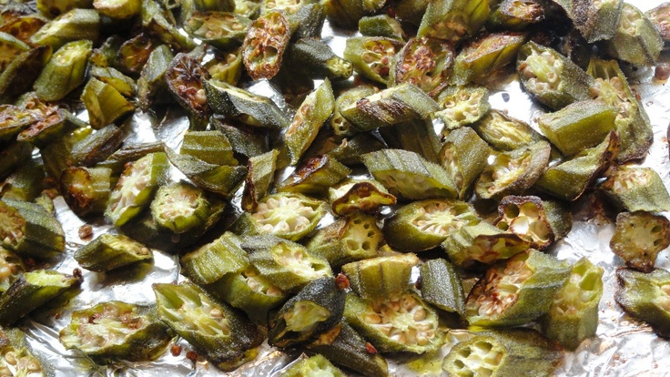 OK so no more slimy okra with no breading or frying.  Frozen okra works just fine but takes more time. Spray a cooking sheet (i use the toaster oven) pre-heat to 425.  Put frozen okra in for 10 minutes, flip pieces, put back in for another 10.  Mildly burnt is perfect for that crispy texture.  Salt and pepper at the end. OMGGGG.