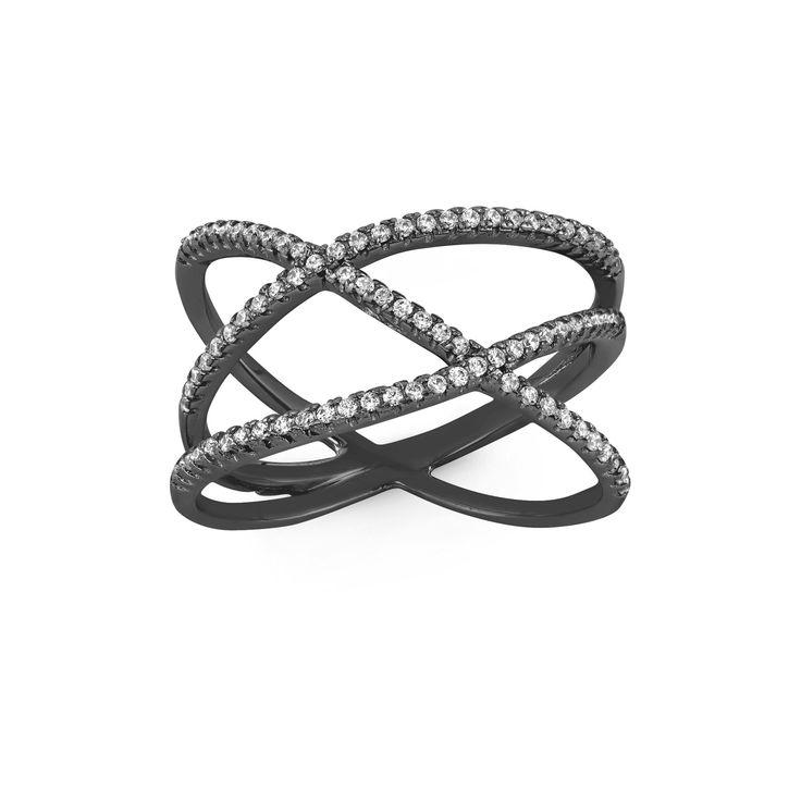 "0.42 CT. T.W. Crossroad Cubic Zirconia ""x"" Ring In Black Rhodium Silver - (10), Women's"