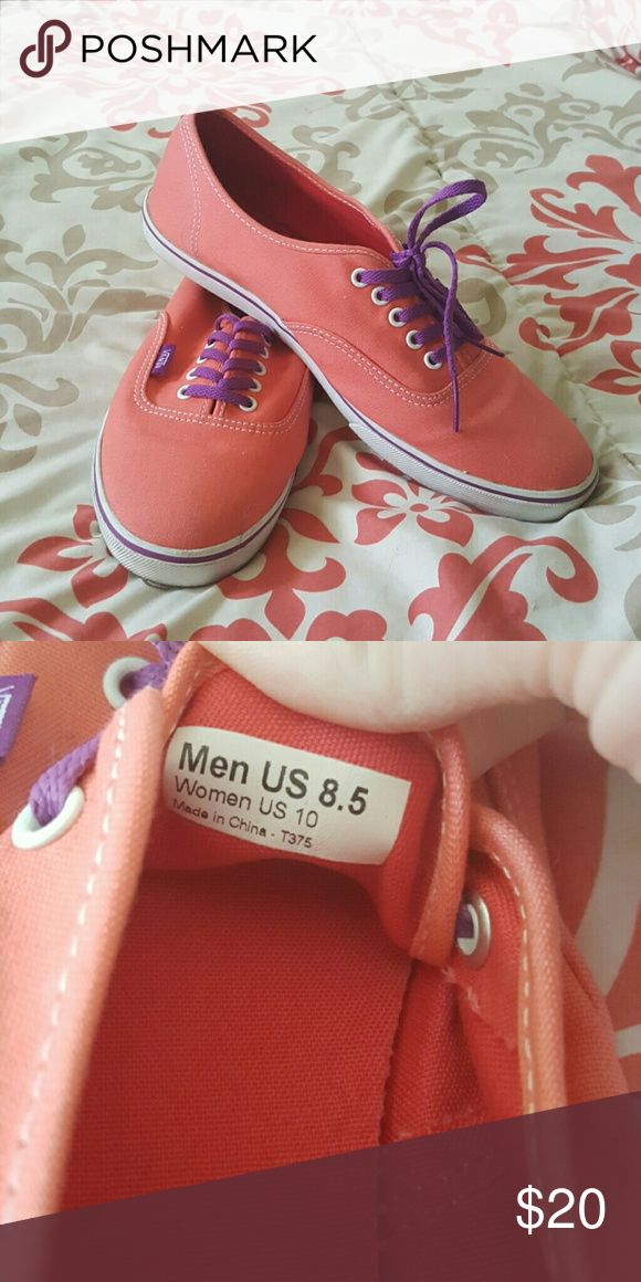 Coral vans with purple laces. Comfortable yet cute vans. Perfect for every day. Worn once. Vans Shoes Sneakers