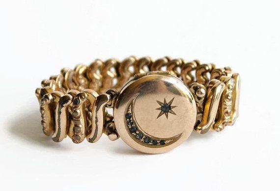 Antique Crescent Moon and Star Expansion Locket Bracelet