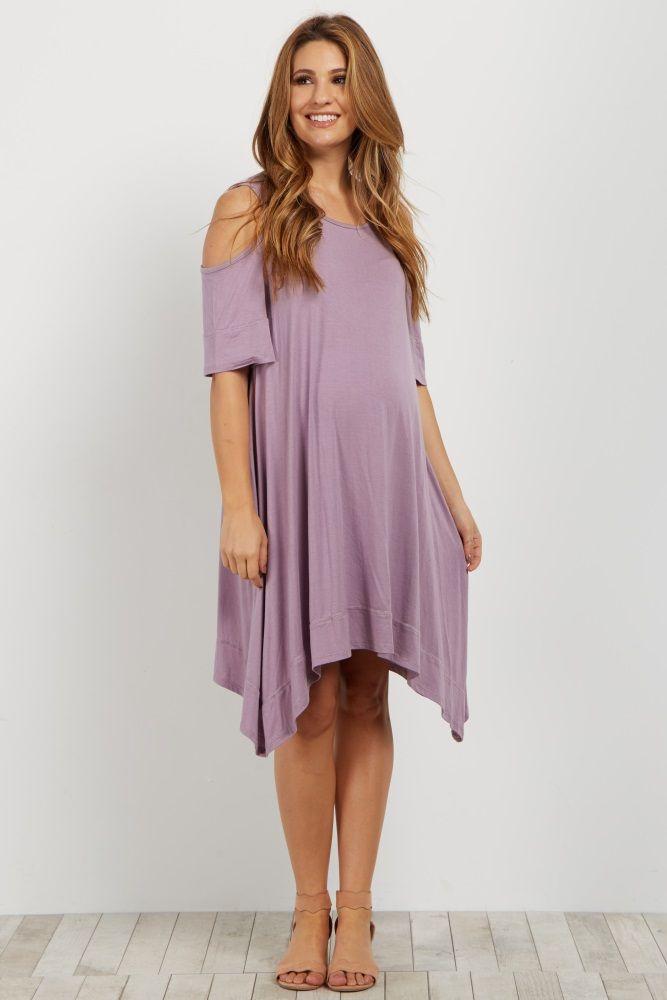 Lavender Cold Shoulder Asymmetrical Maternity Dress Maternity Dresses Dresses Pink Blush Maternity