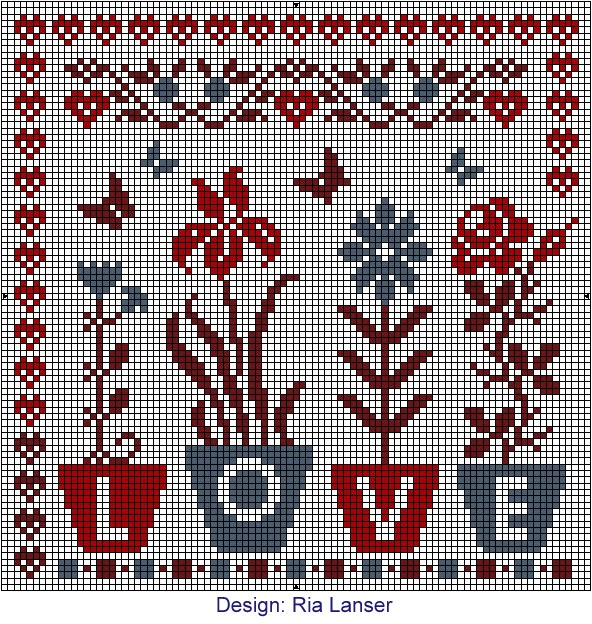 Love flowers cross stitch Design: Ria Lanser