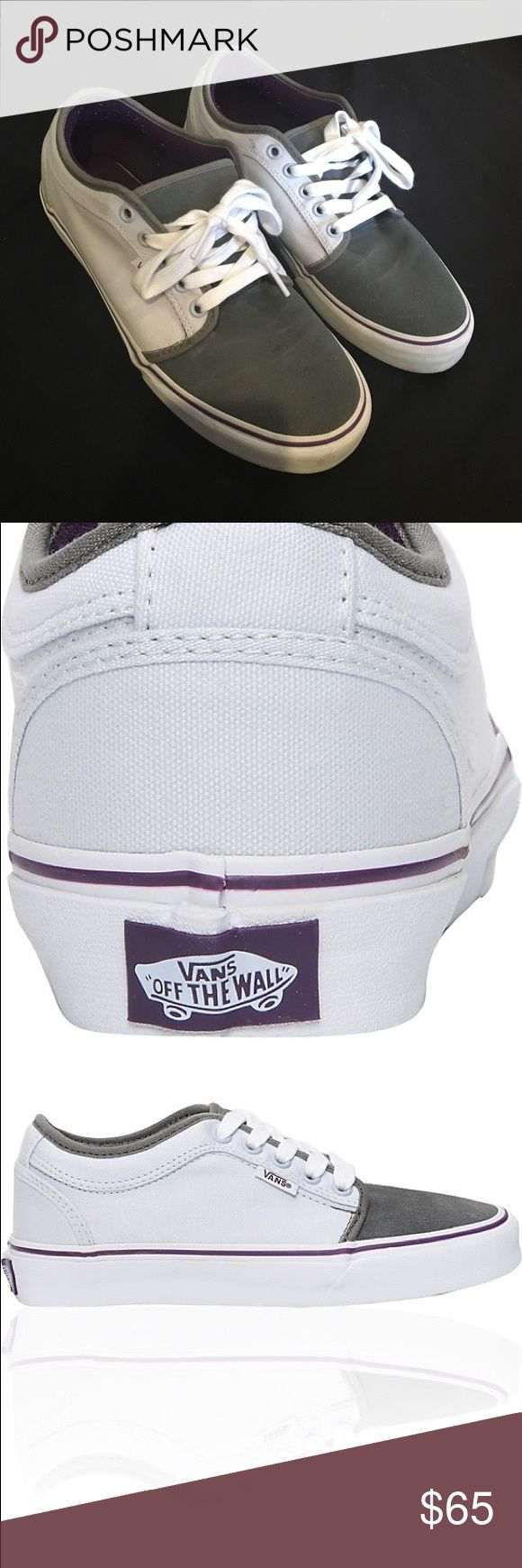 Vans Chukka Low White Grey & Purple Shoes Women's, size 10, worn once Vans Shoes Sneakers