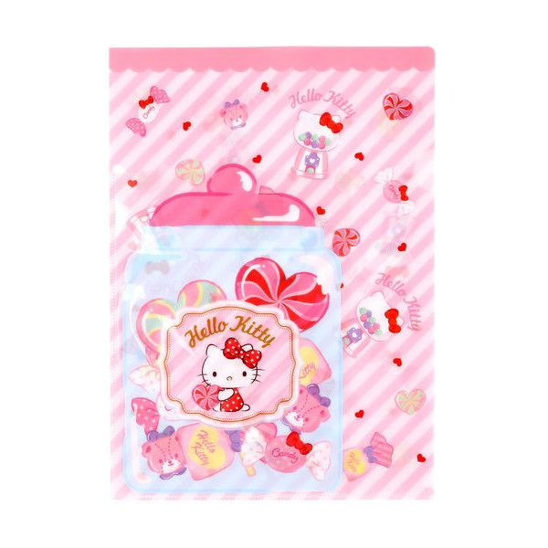 Hello Kitty Clear File Candy ($3.50) ❤ liked on Polyvore featuring home, home decor, office accessories, hello kitty, paper file folder, pocket file folders, file folder and document file folder