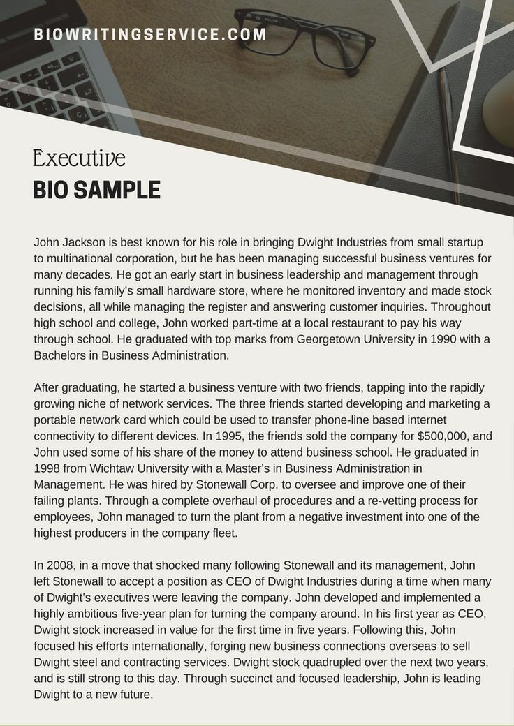 If You Want To Write A Biography, This Executive Bio Sample Will   Resume  Writing  Resume Writing Services Denver