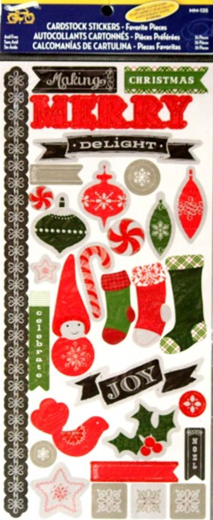 Little Yellow Bicycle Embossed Christmas Glitter Cardstock Stickers