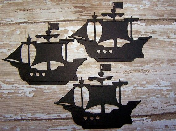 Die Cut Paper Pirate Ships For Thank You Cards