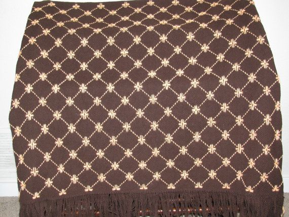 Chocolate Brown Monk's Cloth Swedish Weaving Throw Covered in Light Peach Daisies