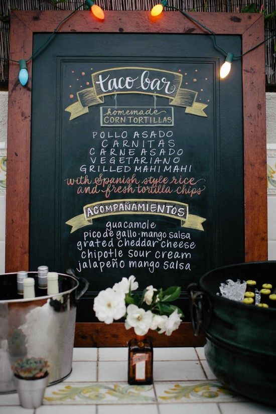 Cute taco bar sign for a taco bar. Great for after parties , welcome parties or a station at the reception. More