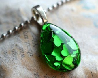 Resin Jewelry - Tiny Teardrop Green Heart Filled Hand Poured Resin Pendant by Keep The Sugar