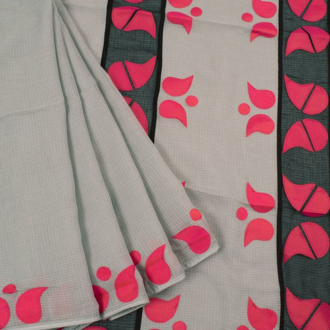 Hand Crafted Kota Cotton Saree With Silk Applique Work 10024410 - profile - AVISHYA.COM 3