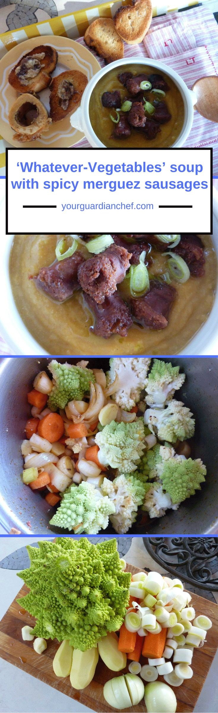 I use this recipe with spicy merguez sausages when I want to use the vegetables I have in the pantry a lamb sausage flavoured with chilly, harissa and cumin - Your Guardian Chef #merguez #romanesco #soup #leftover