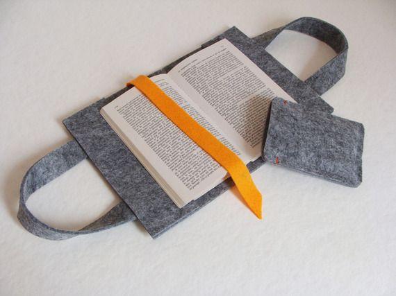 Sac à livre avec étui à téléphone assortis : feutre gris et feutrine orange