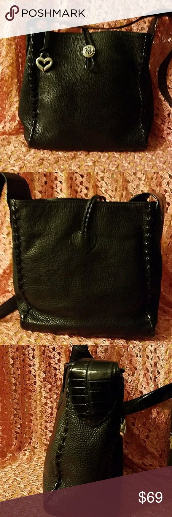 Brighton black pebbled leather bag Adorable bag,texture mix croc, pebbled leather.stitching on all four corners,silver Brighton hardware, keychain, fob.no signs of wear on the leather.bottom lining is a bit dirty but not bad Brighton Bags Shoulder Bags