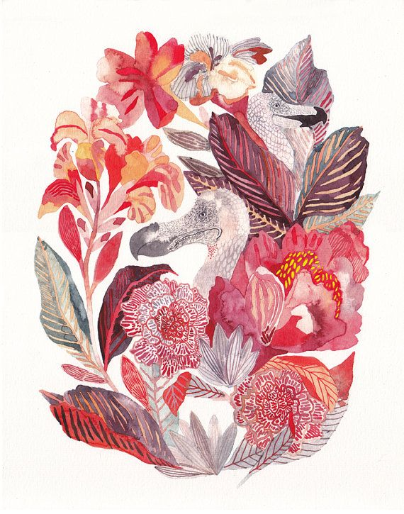 Etsy の Dodo and Canna Lilies Archival Print by unitedthread