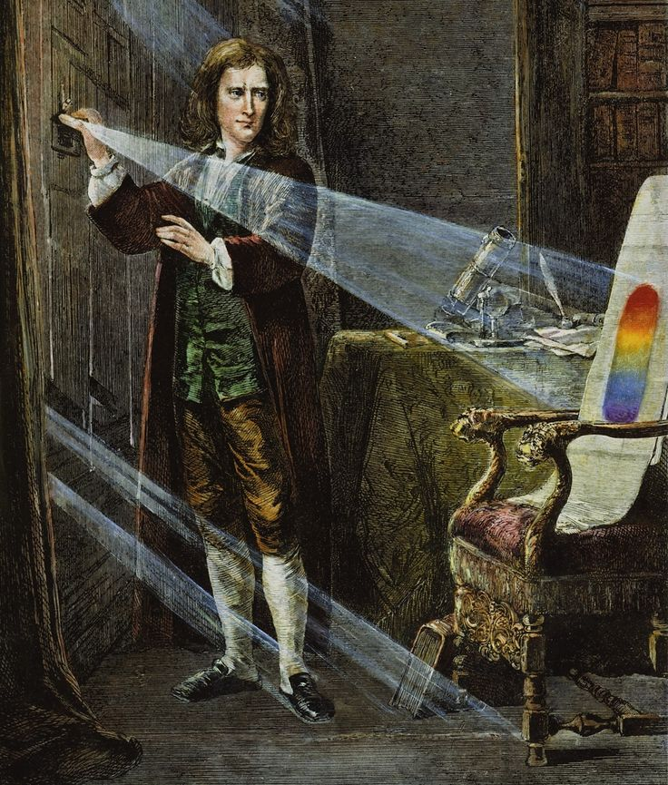 Isaac Newton experimenting with light, c.1672.