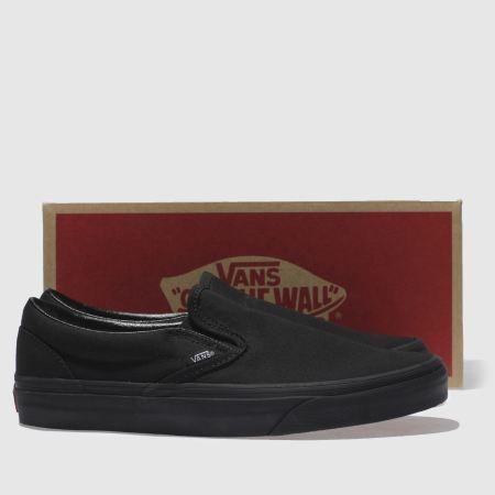 vans black classic slip on trainers