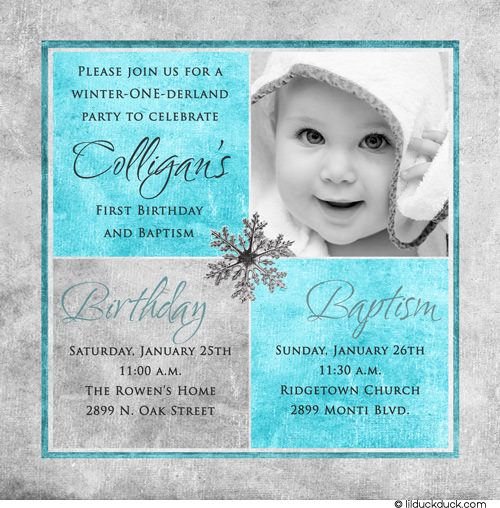 Photo Winter Birthday Baptism Invitation One Derland Party First