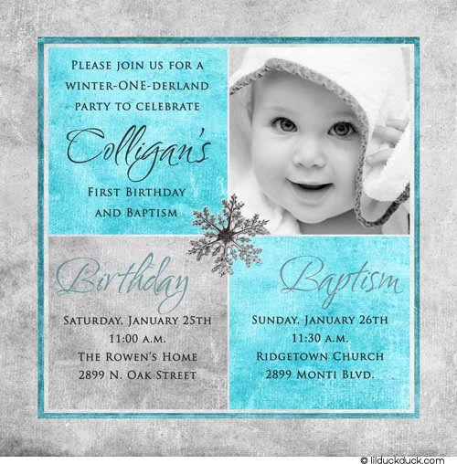 1st Birthday And Christening/baptism Invitation Sample