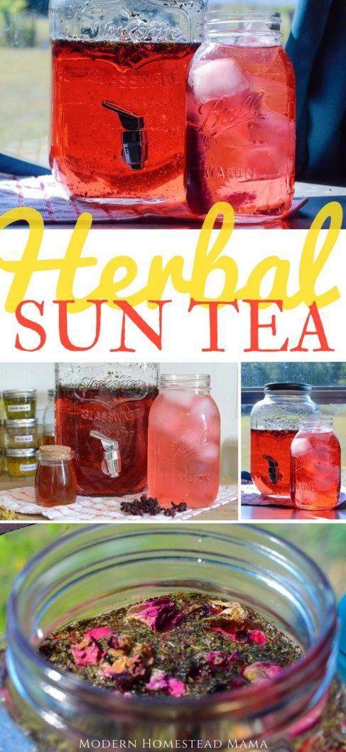 Herbal Sun Tea Recipe - Hibiscus Peppermint #herbal #suntea #homesteading # homemade