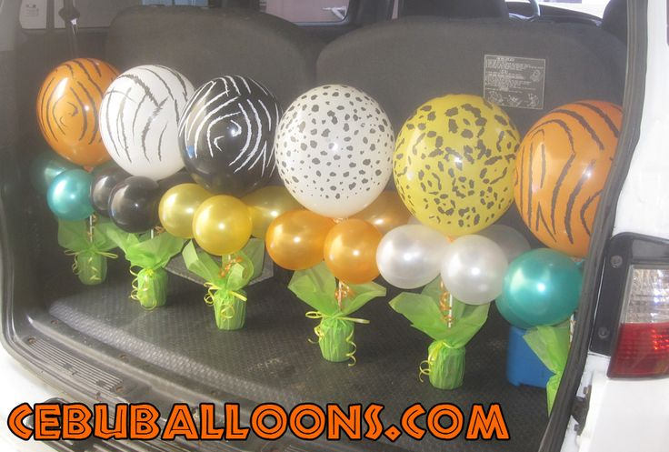 Safari Balloon Centerpieces | Safari Theme Centerpieces and Stick Balloons at Hannah's Party Place