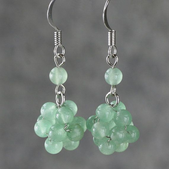 Jade ball drop Earrings handmade ani designs on Etsy, $12.95