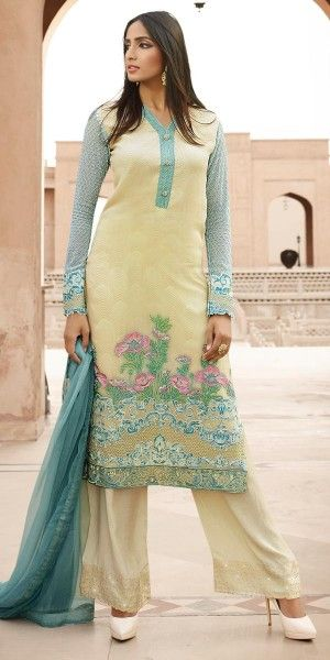 Ethnic Yellow And Blue Georgette Straight Suit.